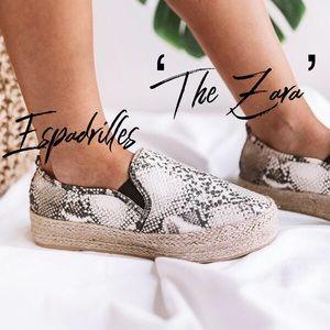 'The Zara' Espadrilles In Snake Skin Print